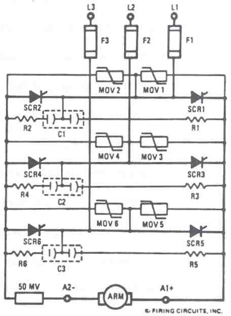 FIGURE A. 1681 DC MOTOR CONTROL. 3-PHASE FULL WAVE (6SCR) POWER CIRCUIT