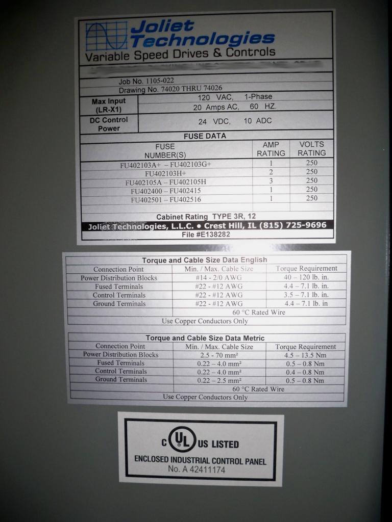 Detailed panel label with UL508A label