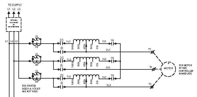 Auto-transformer starting schematic
