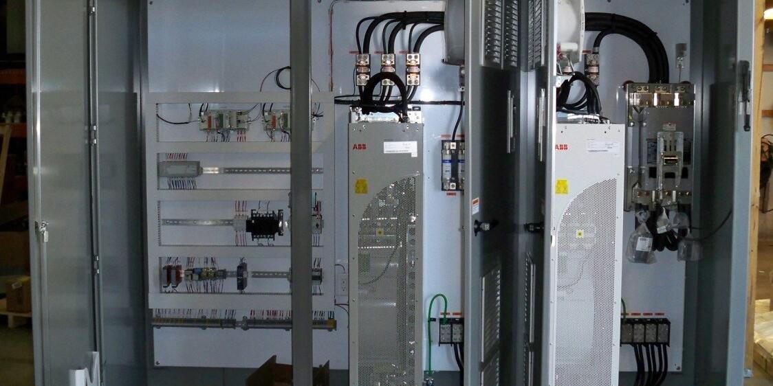 Open door front view of dual cabinet VFD panel