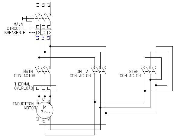 Star-delta motor control schematic